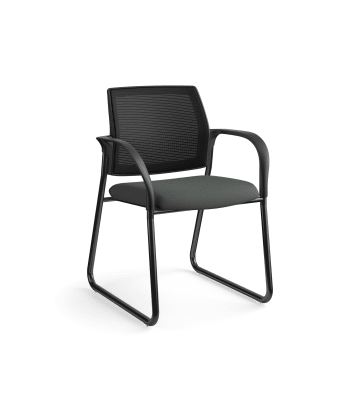 HON Ignition Multi-Purpose Chair | Sled Base | Fixed Arms | Glides | Black 4-way stretch Mesh Back | Iron Ore Seat Fabric | Black Frame