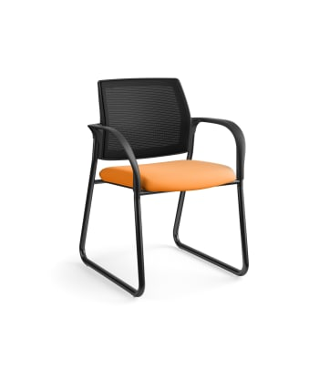 HON Ignition Multi-Purpose Chair | Sled Base | Fixed Arms | Glides | Black 4-way stretch Mesh Back | Apricot Seat Fabric | Black Frame