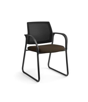 HON Ignition Multi-Purpose Chair | Sled Base | Fixed Arms | Glides | Black 4-way stretch Mesh Back | Espresso Seat Fabric | Black Frame