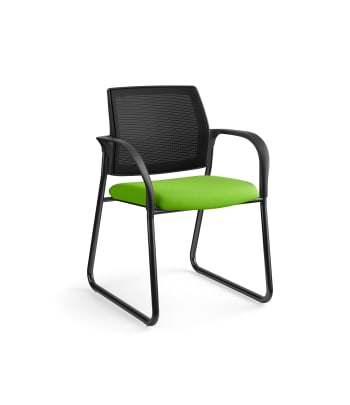 HON Ignition Multi-Purpose Chair | Sled Base | Fixed Arms | Glides | Black 4-way stretch Mesh Back | Pear Seat Fabric | Black Frame