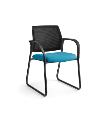 HON Ignition Multi-Purpose Chair | Sled Base | Fixed Arms | Glides | Black 4-way stretch Mesh Back | Peacock Seat Fabric | Black Frame