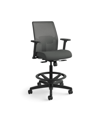 HON Ignition 2.0 Low-Back 4-way stretch Mesh Task Stool | Limited Synchro-Tilt Control | Height- and Width-Adjustable Arms | Adjustable Lumbar Support | Charcoal 4-way stretch Mesh Back | Iron Ore Seat Fabric
