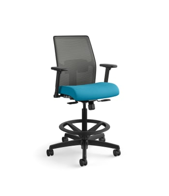 HON Ignition 2.0 Low-Back 4-way stretch Mesh Task Stool   Limited Synchro-Tilt Control   Height- and Width-Adjustable Arms   Adjustable Lumbar Support   Charcoal 4-way stretch Mesh Back   Peacock Seat Fabric   Black Frame