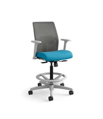 HON Ignition 2.0 Low-Back 4-way stretch Mesh Task Stool | Limited Synchro-Tilt Control | Height- and Width-Adjustable Arms | Adjustable Lumbar Support | Charcoal 4-way stretch Mesh Back | Peacock Seat Fabric | Titanium Frame