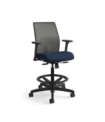 HON Ignition 2.0 Low-Back 4-way stretch Mesh Task Stool   Limited Synchro-Tilt Control   Height- and Width-Adjustable Arms   Adjustable Lumbar Support   Charcoal 4-way stretch Mesh Back   Navy Seat Fabric
