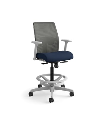 HON Ignition 2.0 Low-Back 4-way stretch Mesh Task Stool | Limited Synchro-Tilt Control | Height- and Width-Adjustable Arms | Adjustable Lumbar Support | Charcoal 4-way stretch Mesh Back | Navy Seat Fabric | Titanium Frame
