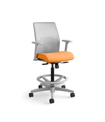 HON Ignition 2.0 Low-Back 4-way stretch Mesh Task Stool | Limited Synchro-Tilt Control | Height- and Width-Adjustable Arms | Adjustable Lumbar Support | Fog 4-way stretch Mesh Back | Apricot Seat Fabric | Titanium Frame