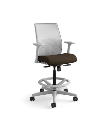 HON Ignition 2.0 Low-Back 4-way stretch Mesh Task Stool | Limited Synchro-Tilt Control | Height- and Width-Adjustable Arms | Adjustable Lumbar Support | Fog 4-way stretch Mesh Back | Espresso Seat Fabric | Titanium Frame