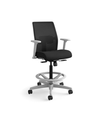HON Ignition 2.0 Low-Back 4-way stretch Mesh Task Stool | Limited Synchro-Tilt Control | Height- and Width-Adjustable Arms | Adjustable Lumbar Support | Black 4-way stretch Mesh Back | Black Seat Fabric | Titanium Frame