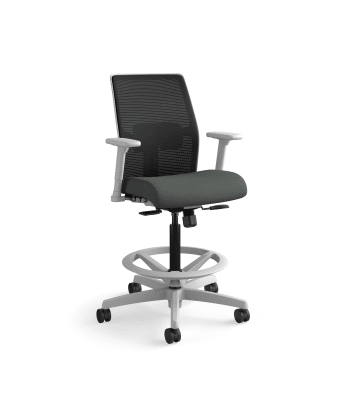 HON Ignition 2.0 Low-Back 4-way stretch Mesh Task Stool | Limited Synchro-Tilt Control | Height- and Width-Adjustable Arms | Adjustable Lumbar Support | Black 4-way stretch Mesh Back | Iron Ore Seat Fabric | Titanium Frame