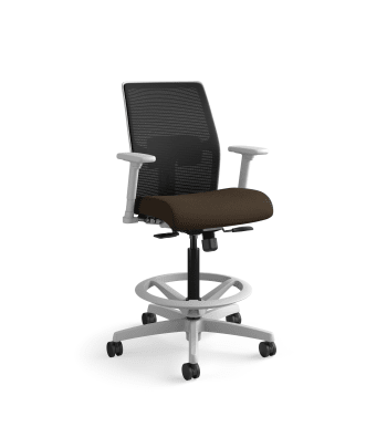 HON Ignition 2.0 Low-Back 4-way stretch Mesh Task Stool   Limited Synchro-Tilt Control   Height- and Width-Adjustable Arms   Adjustable Lumbar Support   Black 4-way stretch Mesh Back   Espresso Seat Fabric   Titanium Frame