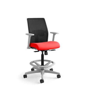HON Ignition 2.0 Low-Back 4-way stretch Mesh Task Stool | Limited Synchro-Tilt Control | Height- and Width-Adjustable Arms | Adjustable Lumbar Support | Black 4-way stretch Mesh Back | Ruby Seat Fabric | Titanium Frame