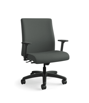 HON Ignition Big and Tall Chair | Center-Tilt | Adjustable Arms | Iron Ore Fabric