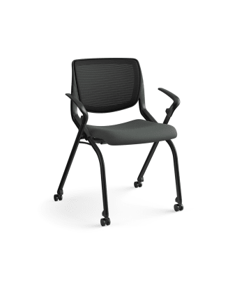 HON Motivate Nesting / Stacking Chair | Fixed Arms | Black Mesh | Shadow Shell | Iron Ore Fabric | Black Frame