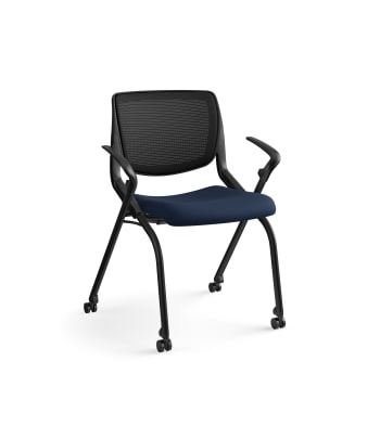 HON Motivate Nesting / Stacking Chair | Fixed Arms | Black Mesh | Regatta Shell | Navy Fabric | Black Frame