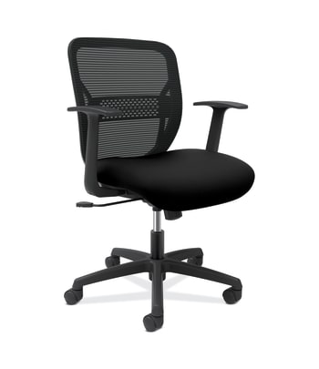 HON Gateway Task Chair | Mid-Back | Swivel-Tilt | Fixed Arms | Black Fabric and Mesh