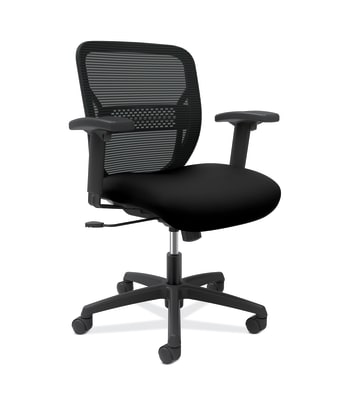 HON Gateway Task Chair | Mid-Back | Swivel-Tilt | Height-Adjustable Arms | Black Fabric and Mesh