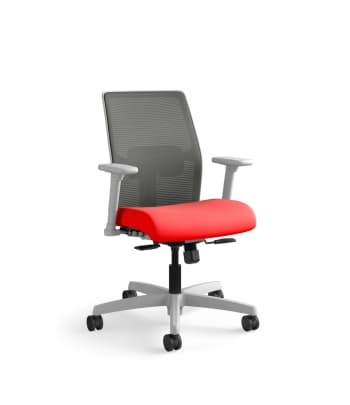 HON Ignition 4-way Stretch Mesh Back Task Chair   Synchro-Tilt Control With Seat Slider   Adjustable Arms   Adjustable Lumbar Support   Charcoal 4-way Stretch Mesh Back   Ruby Seat Fabric   Titanium Frame