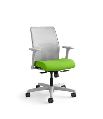 HON Ignition 4-way Stretch Mesh Back Task Chair | Synchro-Tilt Control With Seat Slider | Adjustable Arms | Adjustable Lumbar Support | Fog 4-way Stretch Mesh Back | Pear Seat Fabric | Titanium Frame