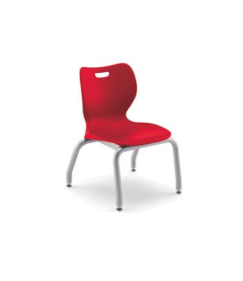 "HON SmartLink 4-Leg Chair | Armless | Set of 4 | Cherry Shell | Platinum Textured Frame | 12""H"
