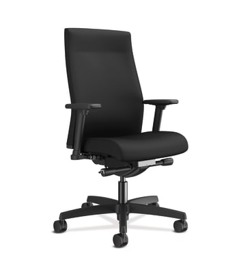 HON Ignition 2.0 Mid-Back Upholstered Task | Advanced Synchro-Tilt | Adjustable Arms | Black Fabric | Adjustable Lumbar