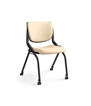 HON Motivate Nesting/Stacking Chair | Armless | Flex Back | Upholstered Seat | Onyx Shell | Cashew Vinyl | Black Base