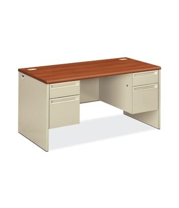 "HON 38000 Series Double Pedestal Desk   2 Box / 2 File Drawers   60""W   Cognac Laminate   Putty Finish"