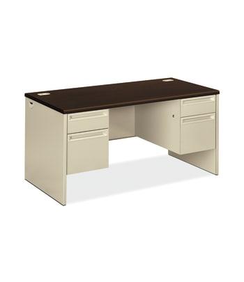 "HON 38000 Series Double Pedestal Desk   2 Box / 2 File Drawers   60""W   Mocha Laminate   Putty Finish"