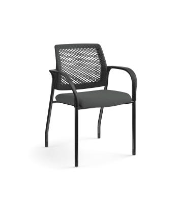HON Ignition Multi-Purpose Stacking Chair |  Fixed Arms | Glides | ReActiv Back | Iron Ore Fabric | Black Frame