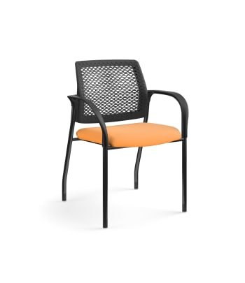 HON Ignition Multi-Purpose Stacking Chair |  Fixed Arms | Glides | ReActiv Back | Apricot Fabric | Black Frame
