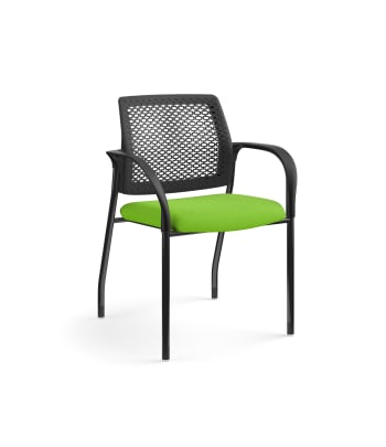 HON Ignition Multi-Purpose Stacking Chair |  Fixed Arms | Glides | ReActiv Back | Pear Fabric | Black Frame