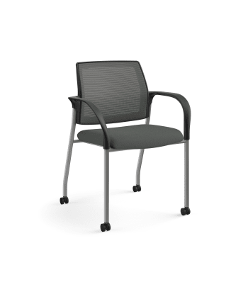 HON Ignition Multi-Purpose Stacking Chair | 4-Leg | Fixed Arms | Casters | Charcoal 4-way stretch Mesh Back | Iron Ore Seat Fabric | Platinum Frame