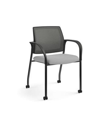 HON Ignition Multi-Purpose Stacking Chair | 4-Leg | Fixed Arms | Casters | Charcoal 4-way stretch Mesh Back | Frost Seat Fabric | Black Frame