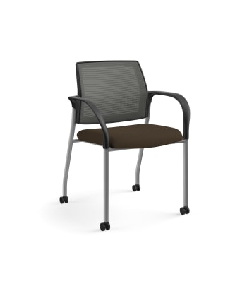 HON Ignition Multi-Purpose Stacking Chair | 4-Leg | Fixed Arms | Casters | Charcoal 4-way stretch Mesh Back | Espresso Seat Fabric | Platinum Frame