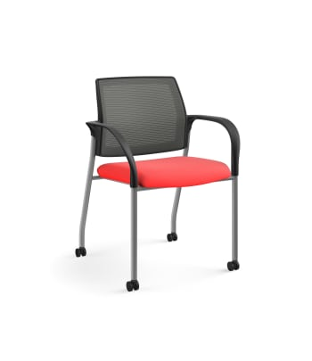 HON Ignition Multi-Purpose Stacking Chair | 4-Leg | Fixed Arms | Casters | Charcoal 4-way stretch Mesh Back | Ruby Seat Fabric | Platinum Frame