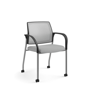 HON Ignition Multi-Purpose Stacking Chair | 4-Leg | Fixed Arms | Casters | Fog 4-way stretch Mesh Back | Frost Seat Fabric | Platinum Frame