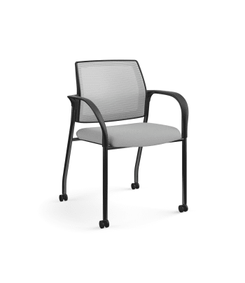 HON Ignition Multi-Purpose Stacking Chair | 4-Leg | Fixed Arms | Casters | Fog 4-way stretch Mesh Back | Frost Seat Fabric | Black Frame