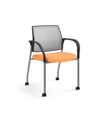 HON Ignition Multi-Purpose Stacking Chair | 4-Leg | Fixed Arms | Casters | Fog 4-way stretch Mesh Back | Apricot Seat Fabric | Platinum Frame