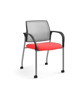 HON Ignition Multi-Purpose Stacking Chair | 4-Leg | Fixed Arms | Casters | Fog 4-way stretch Mesh Back | Ruby Seat Fabric | Platinum Frame