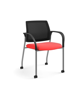 HON Ignition Multi-Purpose Stacking Chair | 4-Leg | Fixed Arms | Casters | Black 4-way stretch Mesh Back | Ruby Seat Fabric | Platinum Frame