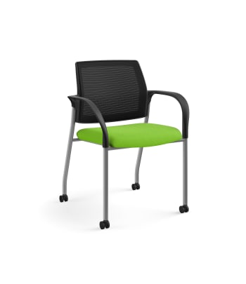 HON Ignition Multi-Purpose Stacking Chair | 4-Leg | Fixed Arms | Casters | Black 4-way stretch Mesh Back | Pear Seat Fabric | Platinum Frame