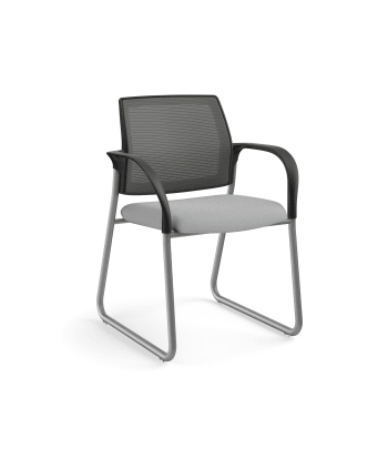 HON Ignition Multi-Purpose Chair | Sled Base | Fixed Arms | Glides | Charcoal 4-way stretch Mesh Back | Frost Seat Fabric | Platinum Frame