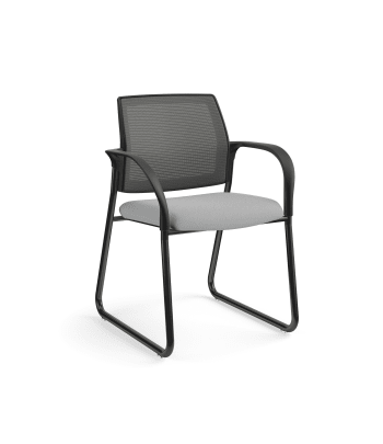 HON Ignition Multi-Purpose Chair | Sled Base | Fixed Arms | Glides | Charcoal 4-way stretch Mesh Back | Frost Seat Fabric | Black Frame