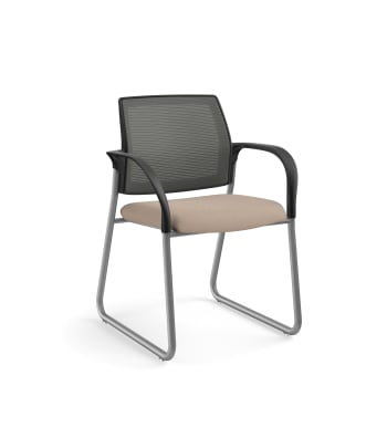 HON Ignition Multi-Purpose Chair | Sled Base | Fixed Arms | Glides | Charcoal 4-way stretch Mesh Back | Morel Seat Fabric | Platinum Frame