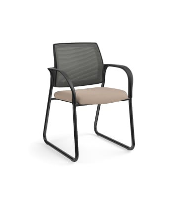 HON Ignition Multi-Purpose Chair | Sled Base | Fixed Arms | Glides | Charcoal 4-way stretch Mesh Back | Morel Seat Fabric | Black Frame