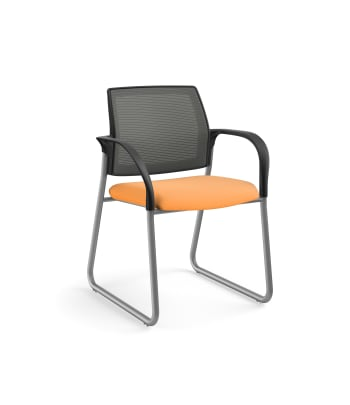 HON Ignition Multi-Purpose Chair | Sled Base | Fixed Arms | Glides | Charcoal 4-way stretch Mesh Back | Apricot Seat Fabric | Platinum Frame