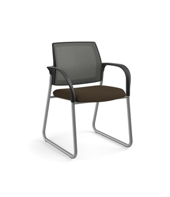 HON Ignition Multi-Purpose Chair | Sled Base | Fixed Arms | Glides | Charcoal 4-way stretch Mesh Back | Espresso Seat Fabric | Platinum Frame