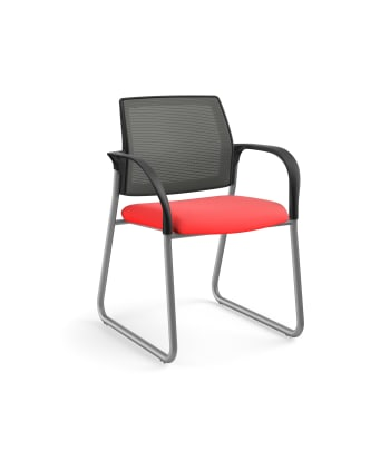 HON Ignition Multi-Purpose Chair | Sled Base | Fixed Arms | Glides | Charcoal 4-way stretch Mesh Back | Ruby Seat Fabric | Platinum Frame