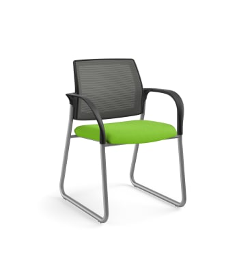 HON Ignition Multi-Purpose Chair | Sled Base | Fixed Arms | Glides | Charcoal 4-way stretch Mesh Back | Pear Seat Fabric | Platinum Frame