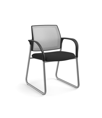HON Ignition Multi-Purpose Chair | Sled Base | Fixed Arms | Glides | Fog 4-way stretch Mesh Back | Black Seat Fabric | Platinum Frame